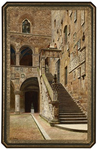 the courtyard of the palazzo del popolo (bargello), florence by giuila cecchi