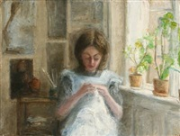 interior with a young girl by erna andersen