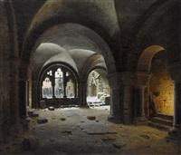 der klostergang bei untergehender sonne by carl georg adolph hasenpflug
