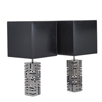 reticulated table lamps (pair) by max sauze