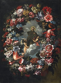 flower garland with saint francis by juan de arellano