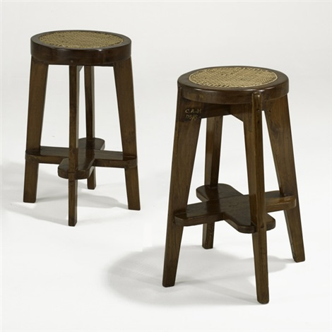 round high stools from the scientific block at chandigarh pair by pierre jeanneret