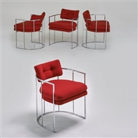 four armchairs by milo baughman