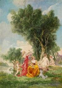 jungfrauen im park by friedrich ernst wolfrom
