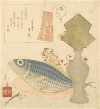 no.1 poem by sansuntei of oji ebiya by hokkei