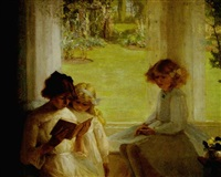 children seated near a window reading a book by garnet ruskin wolseley