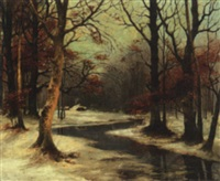 stream in the woods in winter by e. herbers