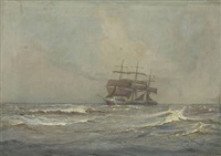 seascape with three-masted sailing ship by harry kluge