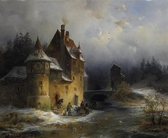 nach der winterlichen jagd personen im gespräch vor einem alten wasserschlößchen by françois stroobant