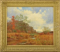 early fall landscape with river and house by william merritt post