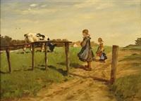 auf dem lande. drei kleine mädchen am feldesrand beobachten eine schwarz-bunte kuh by oscar becker