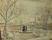 vinterlandskab med snefnug og blæst, huse og figurer på en bro med udsigt til molle by christian georg lind