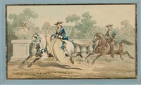 zwei blätter mit adeligen zu pferd (pair) by jean-antoine-simeon fort