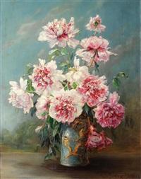 pfingstrosen in chinesischer vase by georg fischer-elpons