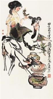 女孩与鹿 by cheng shifa
