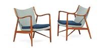 fj 45 easy chairs (pair) by finn juhl
