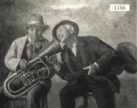 two seated male musicians after passing the hat by david sani