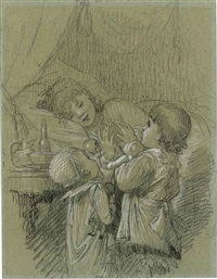 two children waking their mother by timoléon marie lobrichon