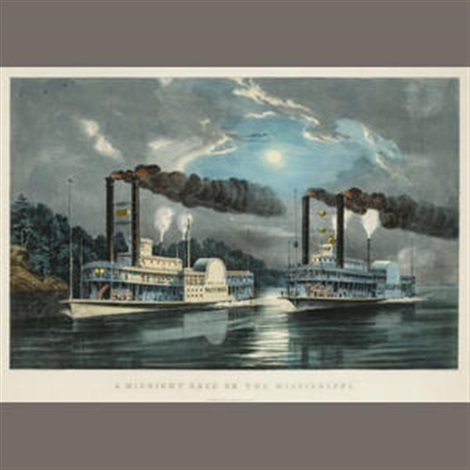 a midnight race on the mississippi by currier ives publishers