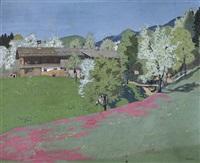 bauernhof im mai mit rotblühender wiese by otto bauriedl