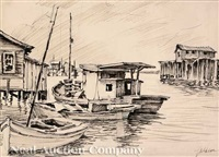 three residences, new orleans; shrimp boats; lafitte's blacksmith shop; the coffee pot (4 works) by rolland harve golden