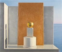 still life with golden apple by david ligare