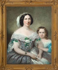 portrait of an elegantly dressed southern mother with her daughter by american school-southern (19)