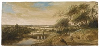 view of arnheim with the eusebiuskerk river landscape with bridge and figural staffage by anthony jansz van der croos