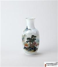 粉彩 独坐敬亭山 瓶 by xu huanwen