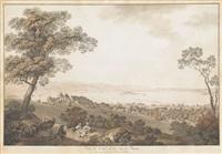 vue de cerlier et du lac de bienne by johann ludwig aberli