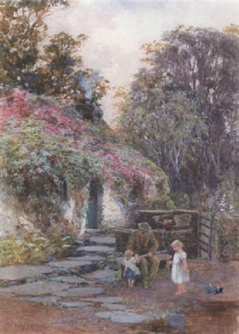 a grandfather with children outside a cottage by isabel oakley naftel