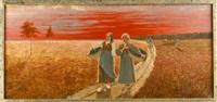 erntehelferinnen mit gefüllten körben auf dem feldweg bei stimmungsvoller abendröte by ernst oskar simonson-castelli