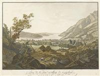 contrée de la ruine du village de goldau avec la vue du lac de zug et du bourg d'arth by franz hegi