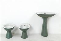 un lavabo un bidet e un wc della serie torena (3 works) by antonia campi