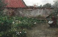 junges mädchen beim stricken im garten eines lübecker hinterhofes by max merker