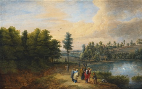 landscape with the healing of the blind by lucas van uden