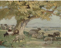 sheep grazing under a tree by pierre adolphe valette