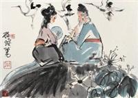 吹箫引鹤图 by cheng shifa