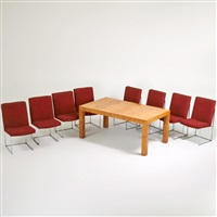 dining set: extension dining table and eight chairs by milo baughman
