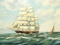 a three-masted barque in full sail running along a coast by philip marchington