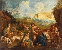 nach bassano. landschaft mit hirten und jägern by anonymous (18)