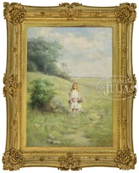young girl picking flowers in landscape by emma levina swan