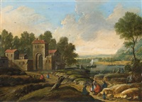 river landscape with figural staffage by marc baets