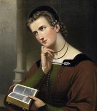 porträt einer jungen frau mit bibel by jan braet von überfeldt