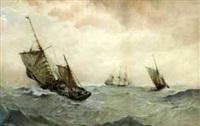 fishing boats at sea by albert markes