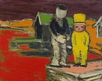 pojke med cylinder och en av de två bröderna clown by gunnar loberg