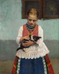 junges mädchen in ungarischer bauerntracht mit einem kätzchen im arm by janos laszlo aldor