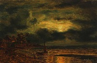 coastal scene at moonlight by wilhelm ferdinand xylander