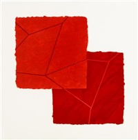 double red crackle (from crackle portfolio) by mary heilmann