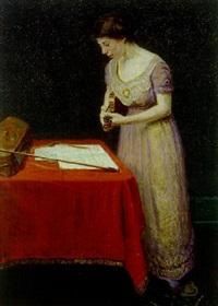 portræt af ulla koppel, stående ved et bord i færd med at stemme en violin, på bordet liggende en violinkasse og bue samt noder by max nathan